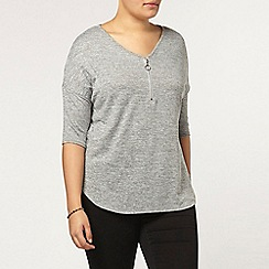 Evans - Grey zip front top