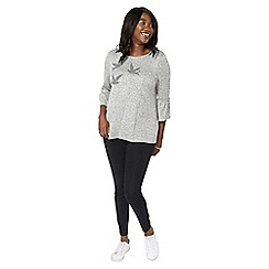 Evans - Grey embroidered swallow top
