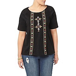 Evans - Black embroidered t-shirt