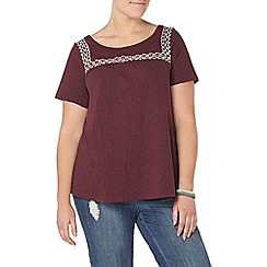 Evans - Red embroidered top