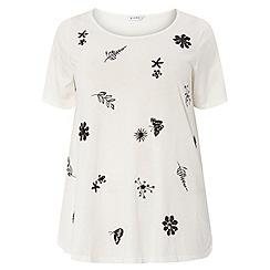Evans - Ivory embellished t-shirt