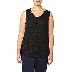 Evans - Black busty fit lace top