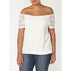 Evans - Ivory lace bardot top