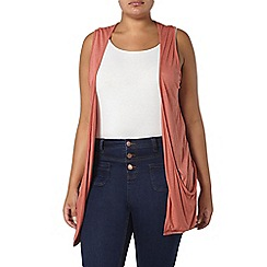 Evans - Peach orange sleeveless cardigan