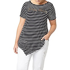 Evans - Navy striped asymmetric top