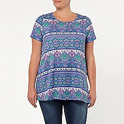 Evans - Purple tile floral print t-shirt