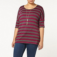 Evans - Purple and grey stripe top