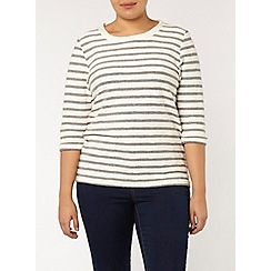 Evans - Ivory and navy stripe top