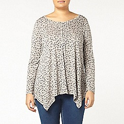 Evans - Grey bird pintuck print top