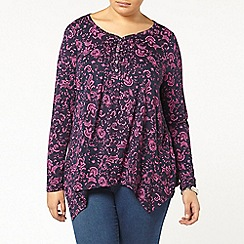 Evans - Navy printed pintuck top