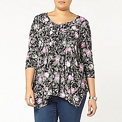 Evans - Black floral honeycomb top
