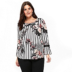 Evans - Ivory striped and floral print top