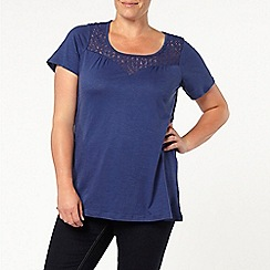 Evans - Navy cross back crochet top