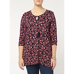 Evans - Navy and coral notch neck top