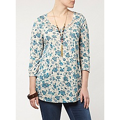Evans - Ivory and blue print top