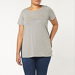 Evans - Grey motif side split tee