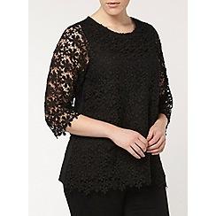 Evans - Black daisy lace top