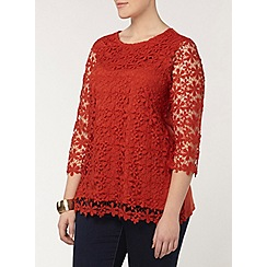 Evans - Orange daisy lace top
