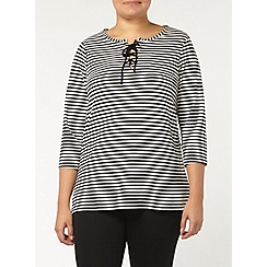 Evans - Stripe lace up neck tee