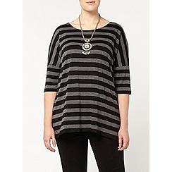Evans - Black and grey stripe top