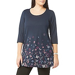 Evans - Navy blue busty fit floral soft touch tunic