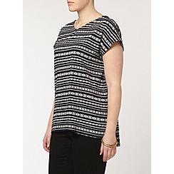 Evans - Navy pattern stripe t-shirt