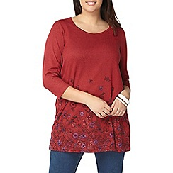 Evans - Red busty border print tunic