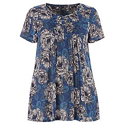 Evans - Blue sketchy floral top