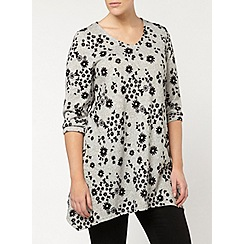 Evans - Grey soft touch print top