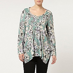 Evans - Green floral pintuck top