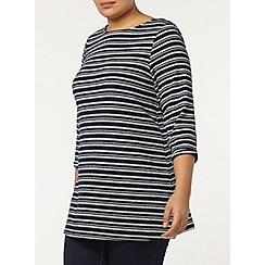 Evans - Navy and grey stripe top