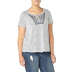 Evans - Ivory printed embroidered detail top