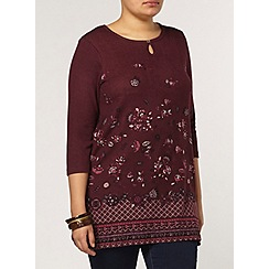 Evans - Berry floral print tunic