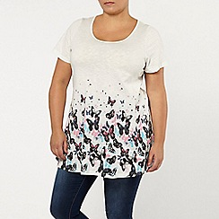Evans - Ivory butterfly print border top