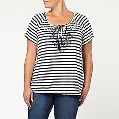Evans - Navy stripe puff print gypsy