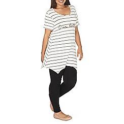 Evans - Ivory stripe slogan t-shirt