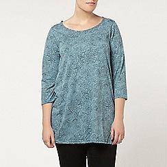 Evans - Blue jersey floral printed top