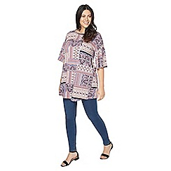 Evans - Pink print frill sleeves tunic