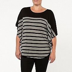 Evans - Black/white stripe cape top