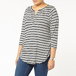 Evans - Stripe busty jersey shirt
