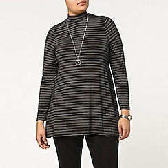 Evans - Black stripe roll neck top