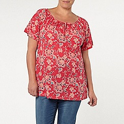 Evans - Ruby red floral gypsy top