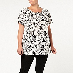 Evans - Ivory floral gypsy top