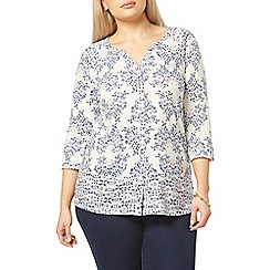 Evans - Ivory butterfly print shirt