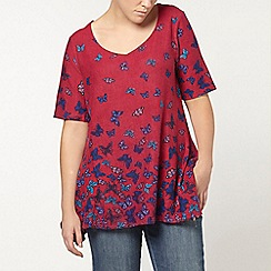 Evans - Pink butterfly print top