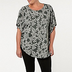 Evans - Khaki paisly printed cape top