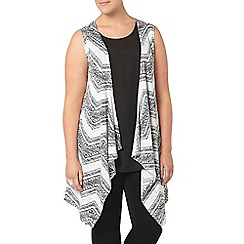 Evans - Black and white printed sleeveless cardigan