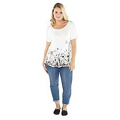 Evans - White premium floral border t-shirt