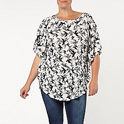 Evans - Navy/white bird print cape top