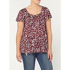 Evans - Pink printed gypsy top